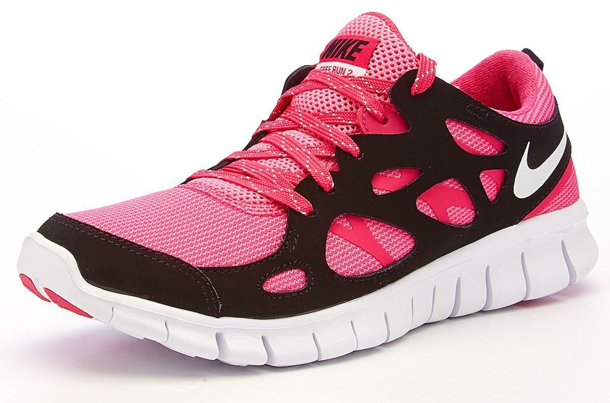 nike free run 2 gs pink black running trainers 644404. Black Bedroom Furniture Sets. Home Design Ideas