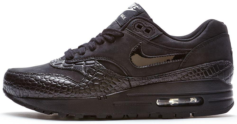 nike air max 1 damen premium sneaker in reptil schwarz. Black Bedroom Furniture Sets. Home Design Ideas