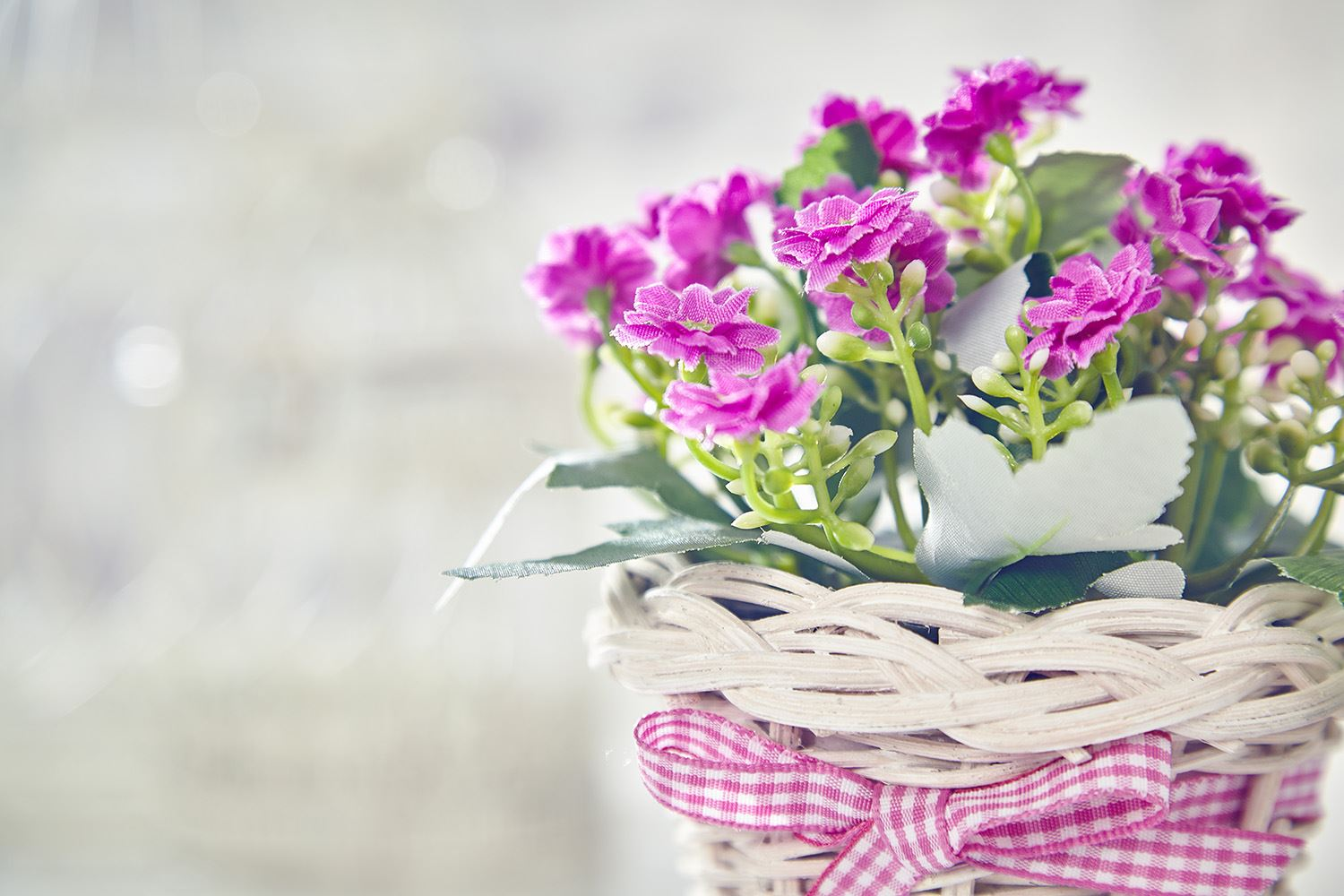 Artificial Forget Me Not Flowers Plants in Basket Home & Wedding ...