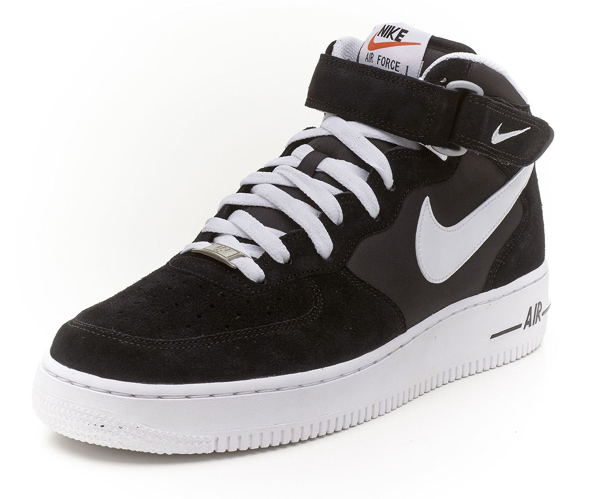 nike air force 1 mid suede black white trainers 315123 020 ebay. Black Bedroom Furniture Sets. Home Design Ideas