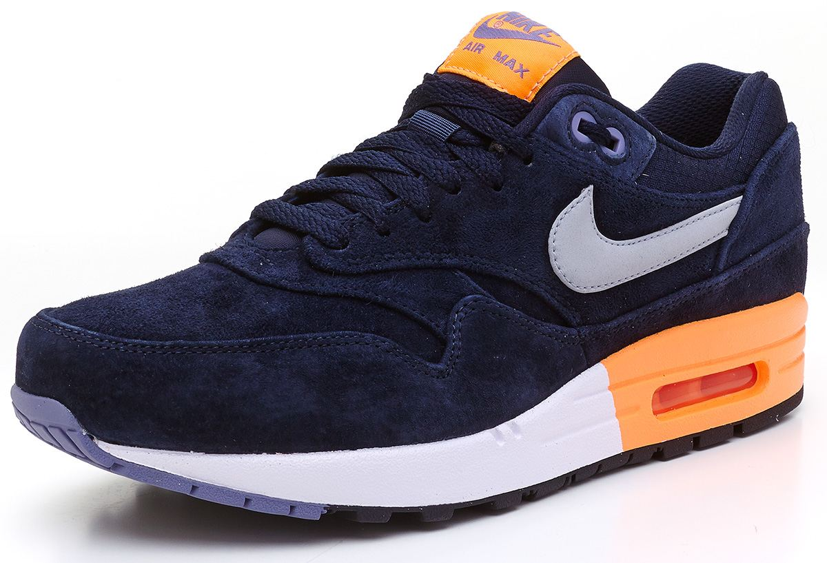 Nike Air Max 1 Premium suede navy blue & orange trainers 512033 400
