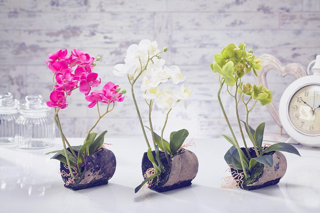 Artificial Orchid Flowers Plants In Pot Home Decor Garden