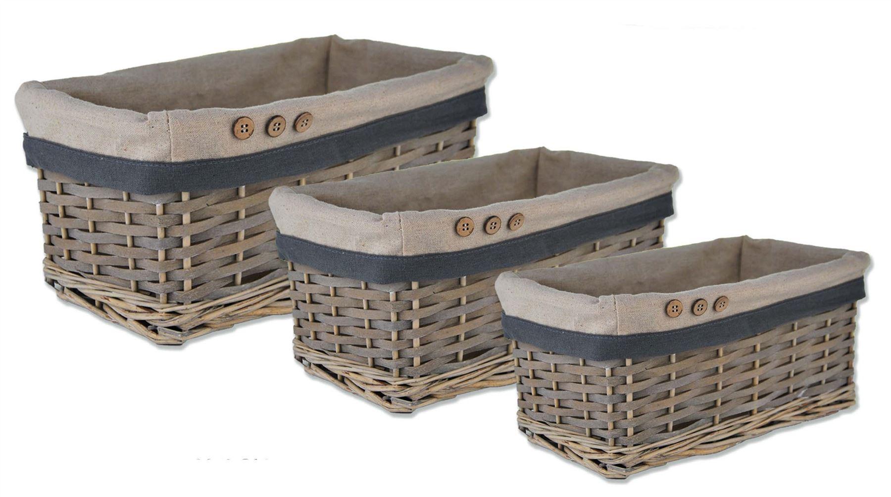 Storage Wicker Willow Lined Basket Bread Fruit Hamper Holder Kitchen Bathroom Ebay