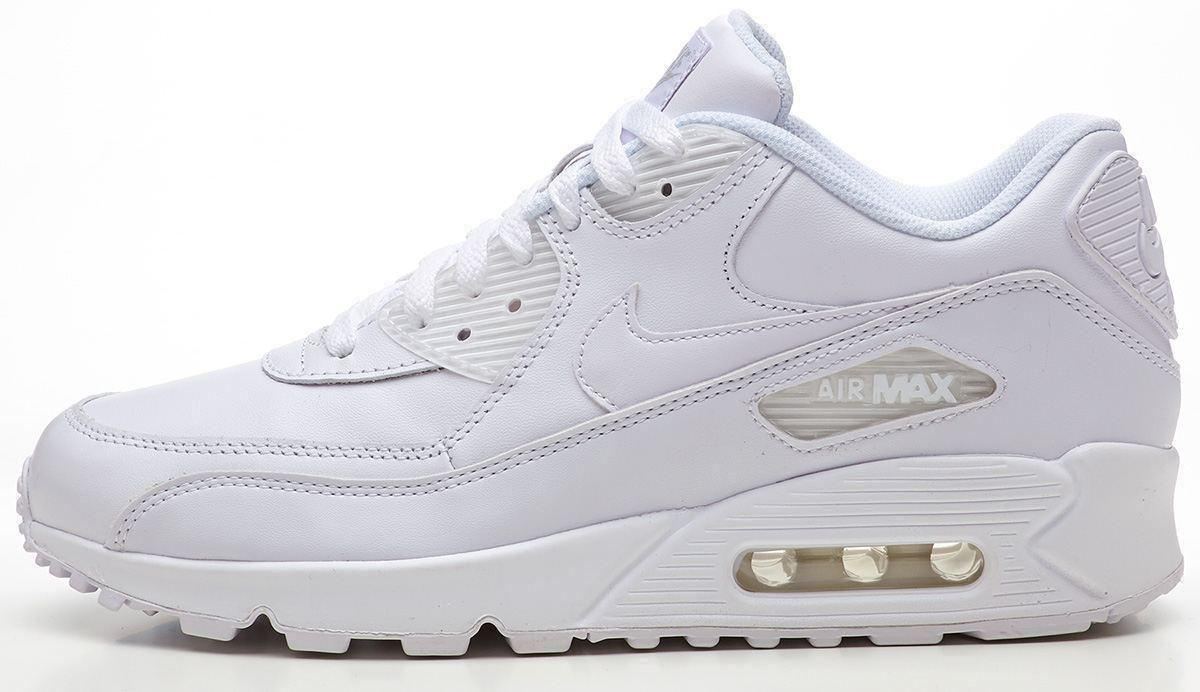 Details about Nike Air Max 90 leather white trainers 302519 113