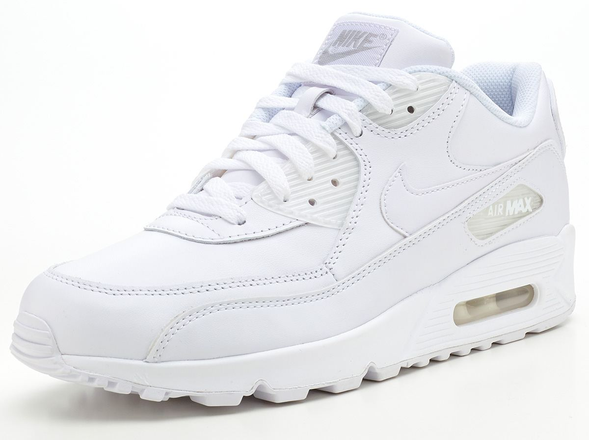 nike air max 90 leather white trainers 302519 113 ebay. Black Bedroom Furniture Sets. Home Design Ideas
