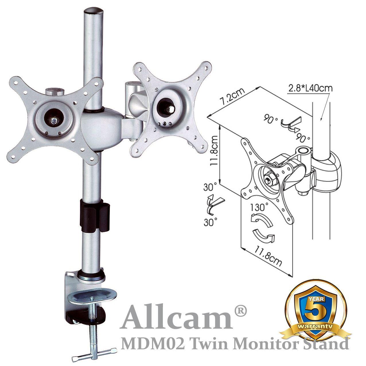 Allcam mdm0 s rie multi cran bureau support de montage for Moniteur montage video