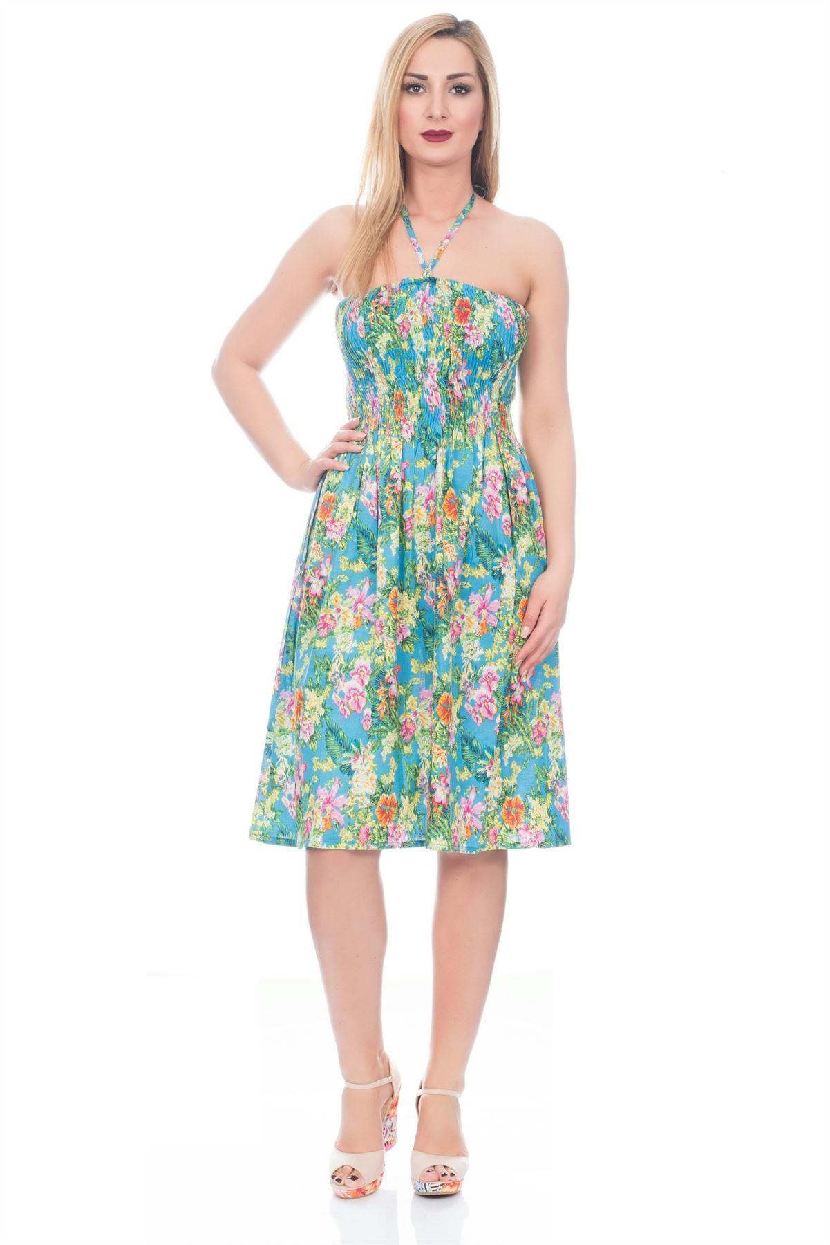 Womens Dress Floral Summer Beach Sundress Ladies Dresses Knee ...