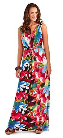 New Womens Long Bright Floral Printed Maxi Dress Summer Holiday ...