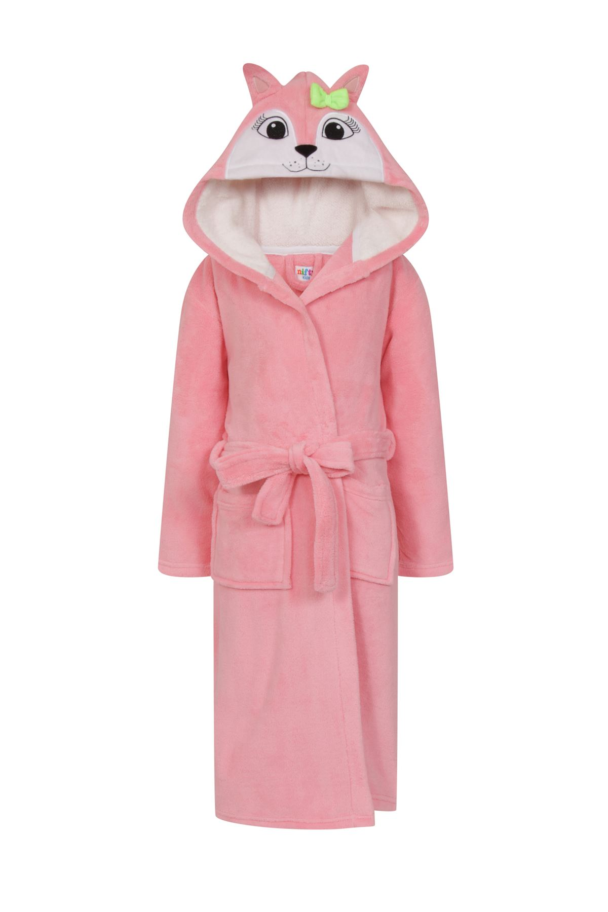 girls boys hooded soft fleece dressing gown bath robe. Black Bedroom Furniture Sets. Home Design Ideas