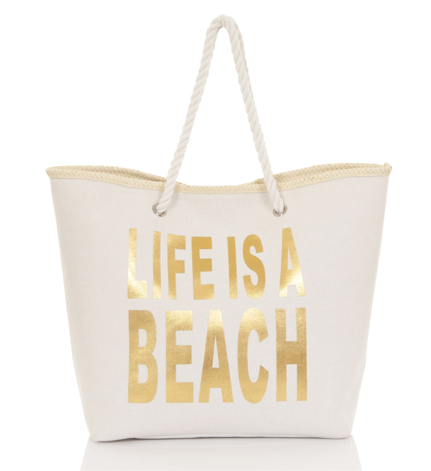 Ladies Canvas Beach Sun Summer Shoulder Holiday Bag Shopping Large ...