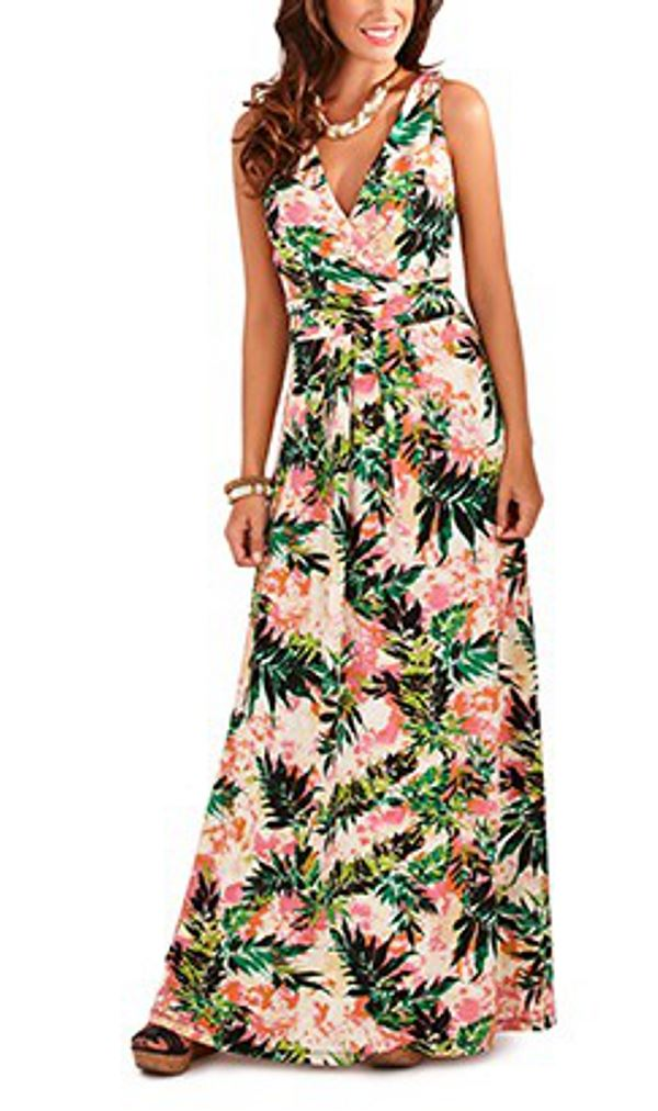 New ladies leaf print summer holiday long maxi dress in pink green