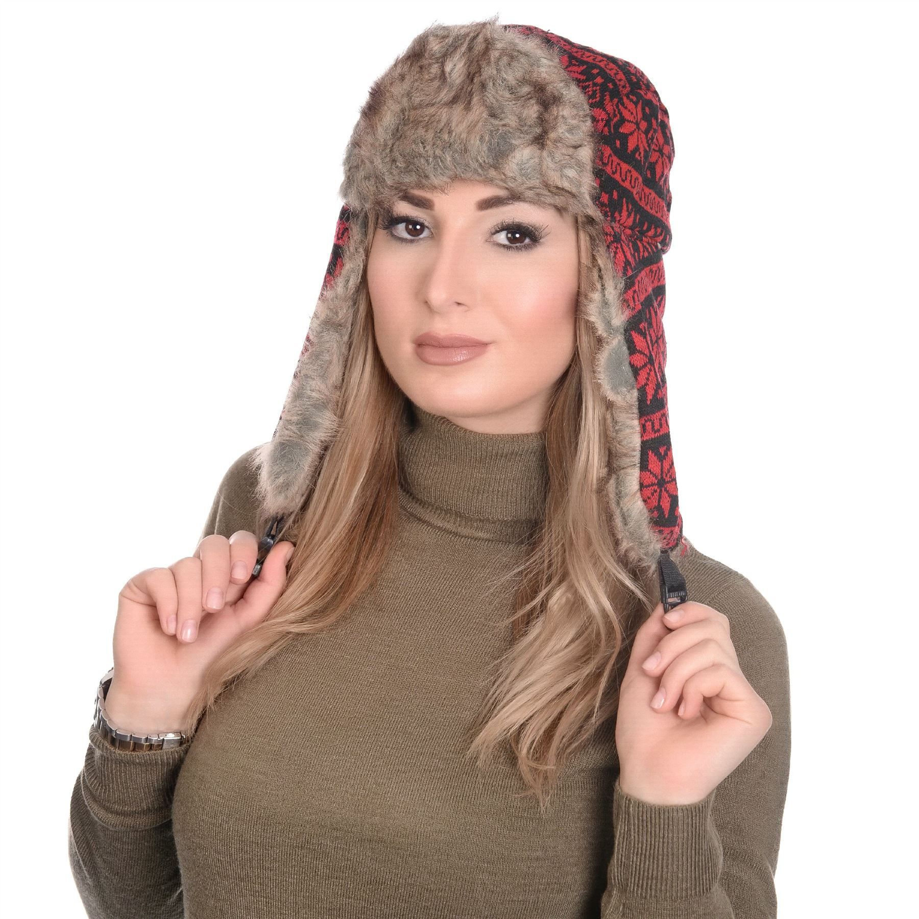 womens mens winter faux fur trim nordic check fair isle