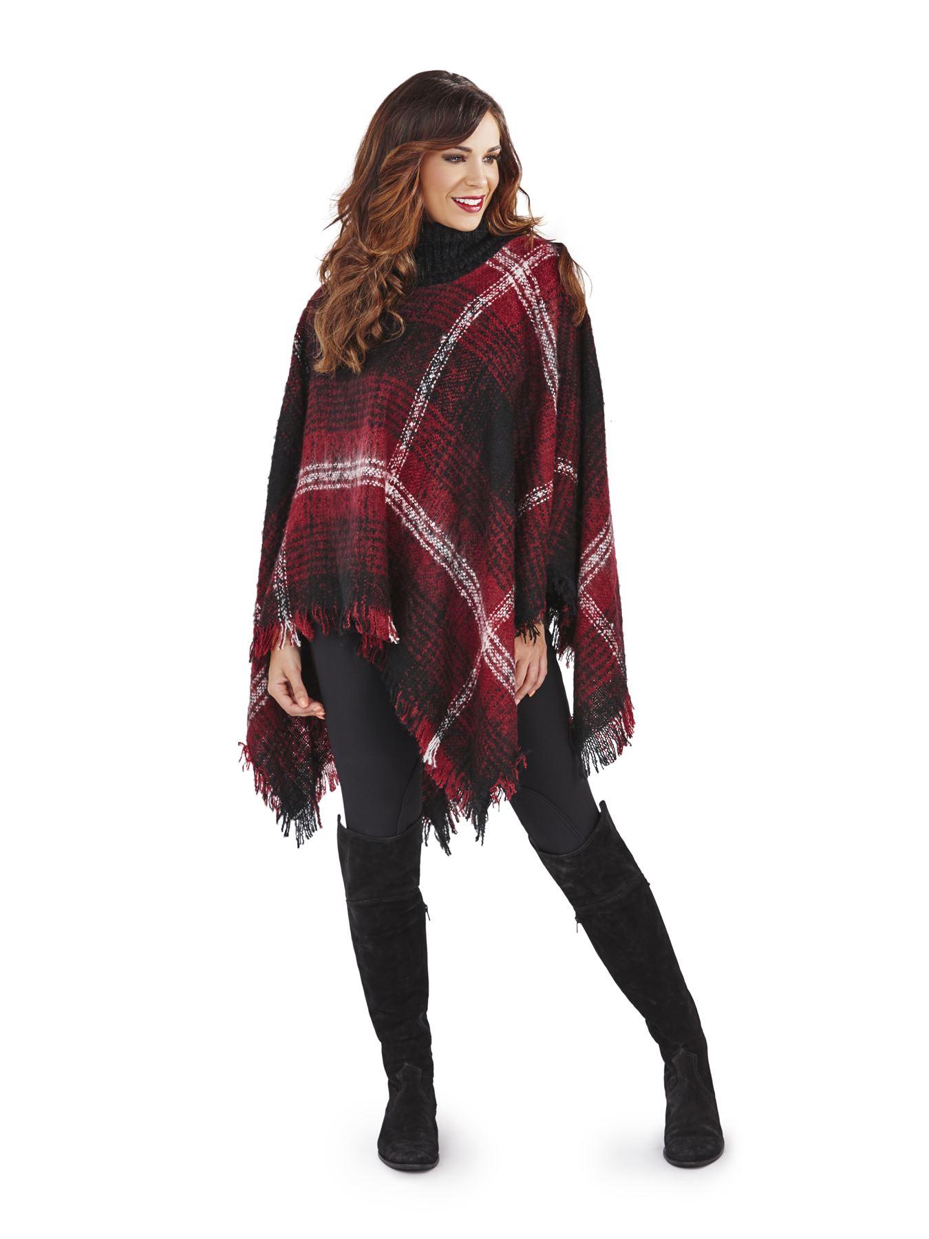 Damen gestrickt umhang winter tartan karomuster decke for Schal binden damen