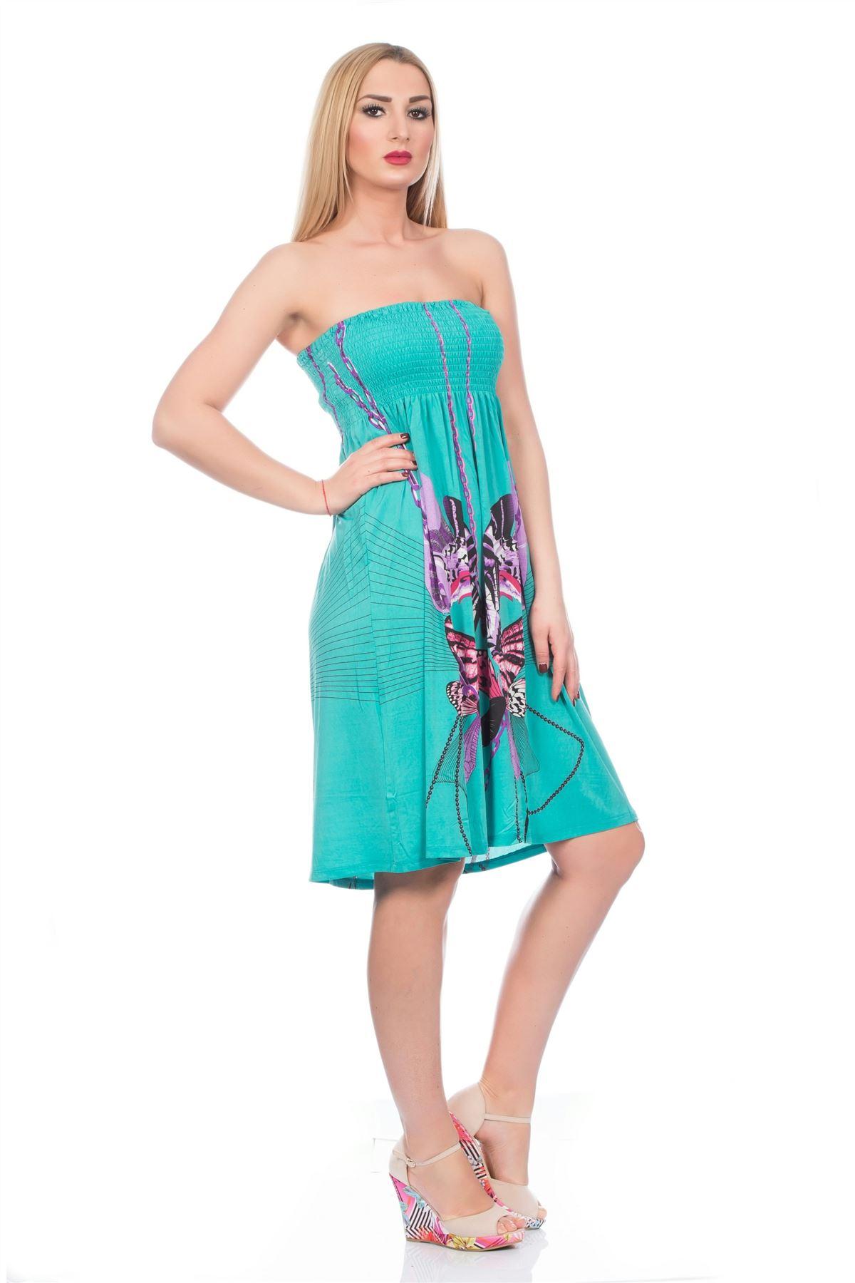 Womens Bright Summer Flowing Short Dress Bandeau Strapless ...