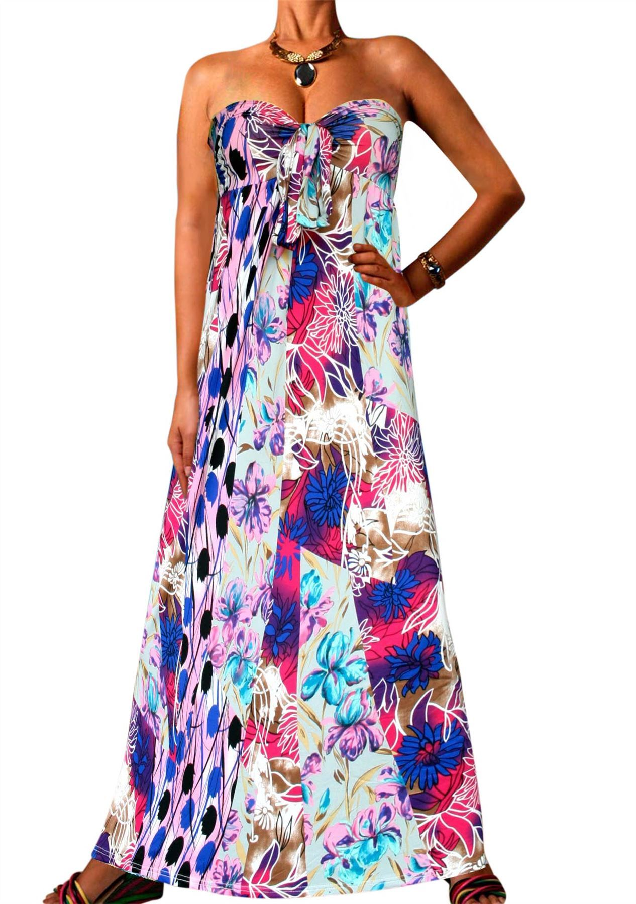 Angela Bandeau Printed Maxi Dress Strapless Long Bright ...