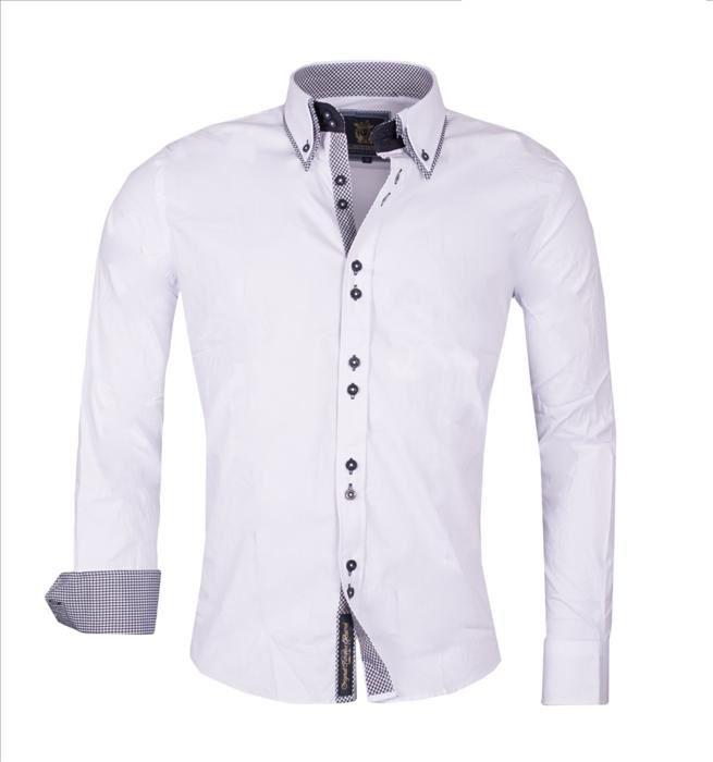 Carisma mens designer shirt in plain navy white cotton for Turkey mens designer shirts