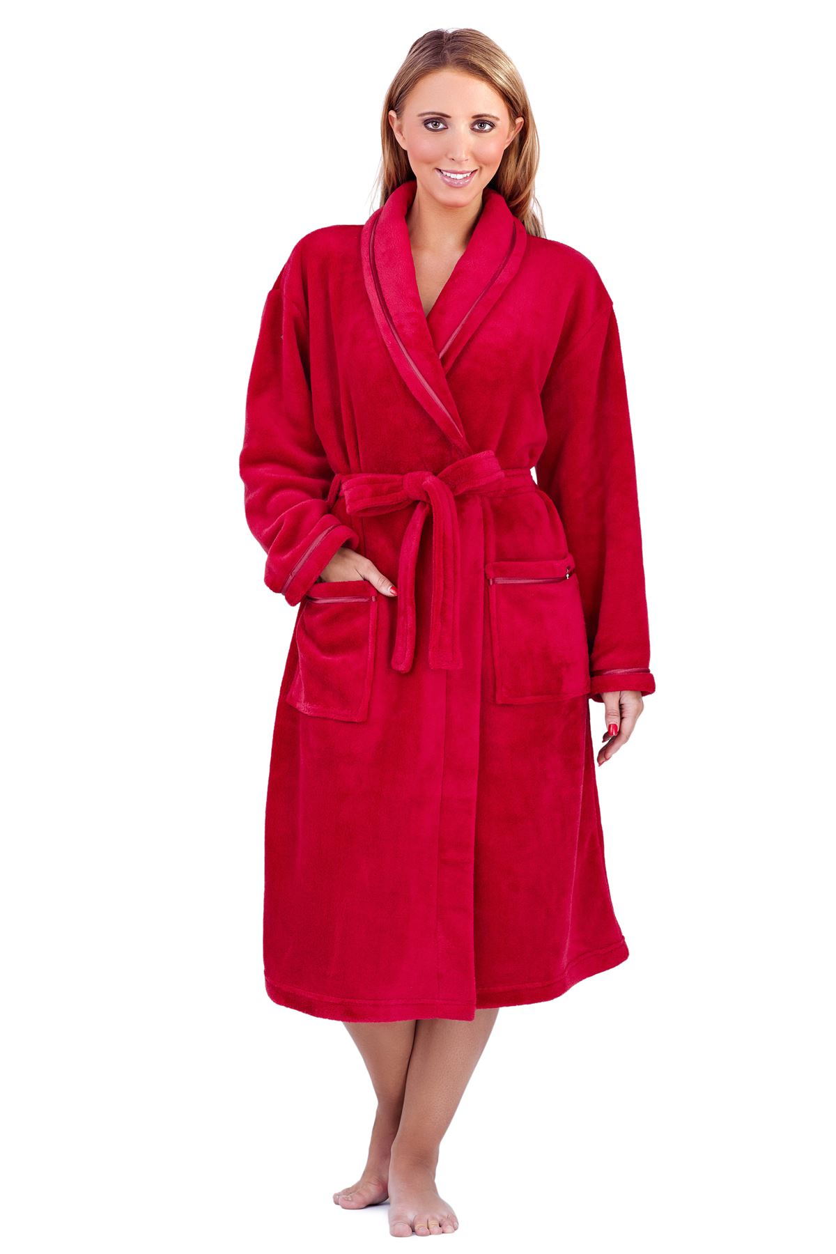 Ladies Womens Luxury Soft Plain Fleece Towelling Bath Robe ...