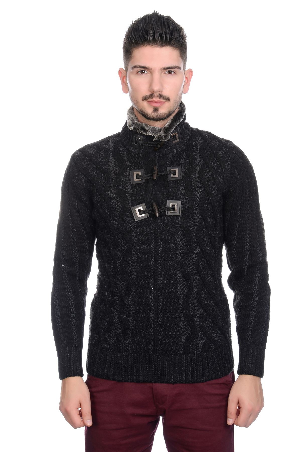 Knitting Cardigan Collar : Bnwt mens designer cable knit jumper cardigan sweater with
