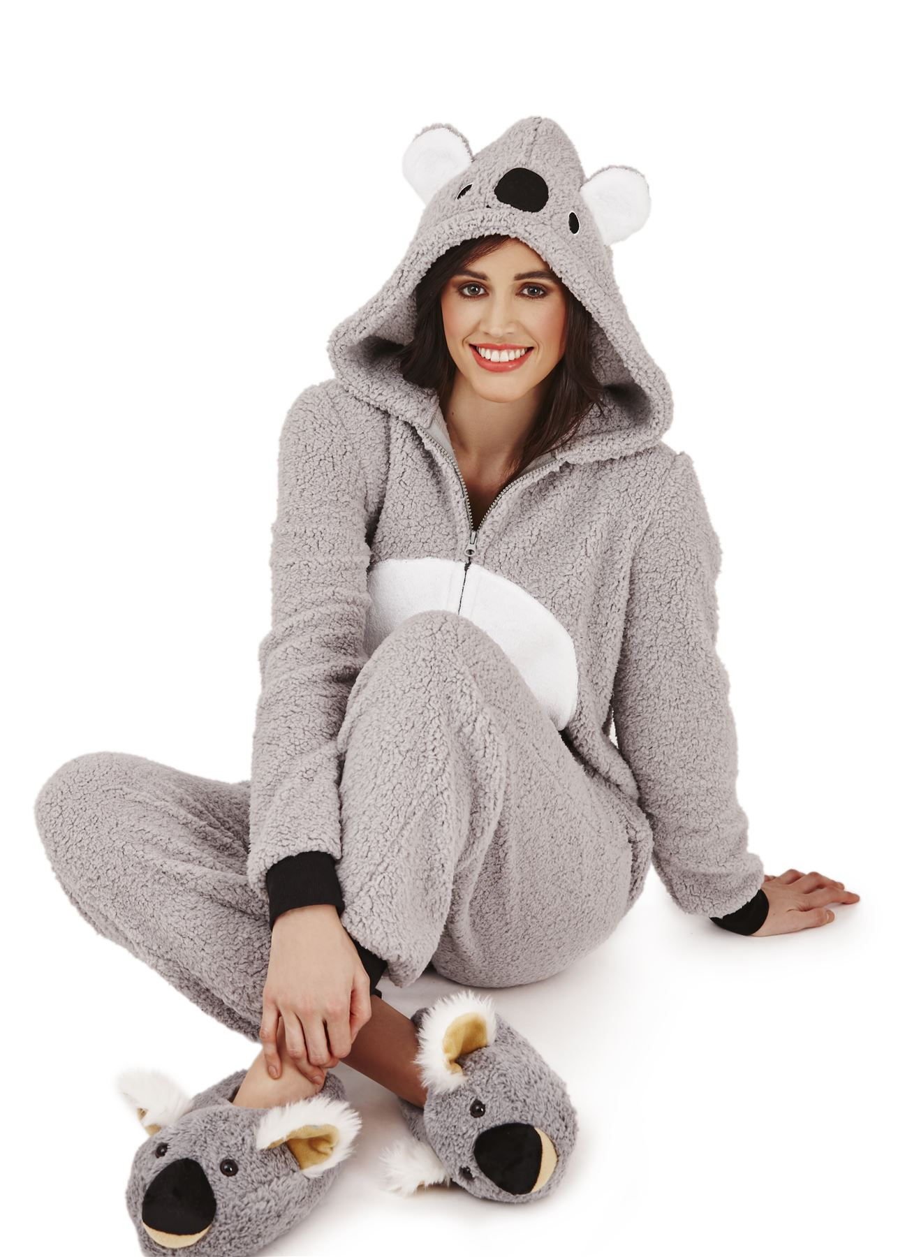 loungeable ladies adult animal onesie jumpsuit koala bear teddy pyjama nightwear ebay. Black Bedroom Furniture Sets. Home Design Ideas