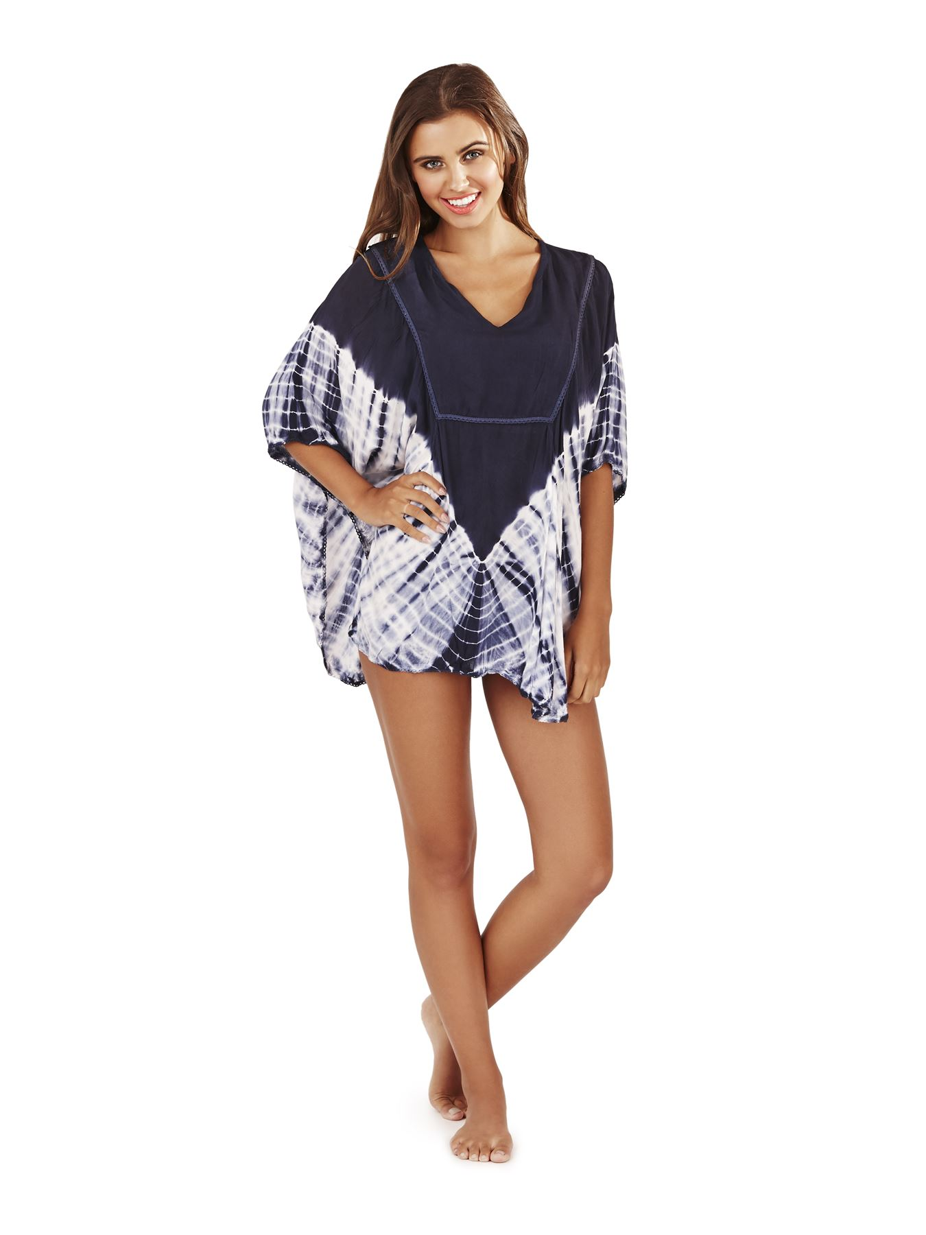 Ladies tie dye beach cover up kaftan bikini summer for Beach shirt cover up
