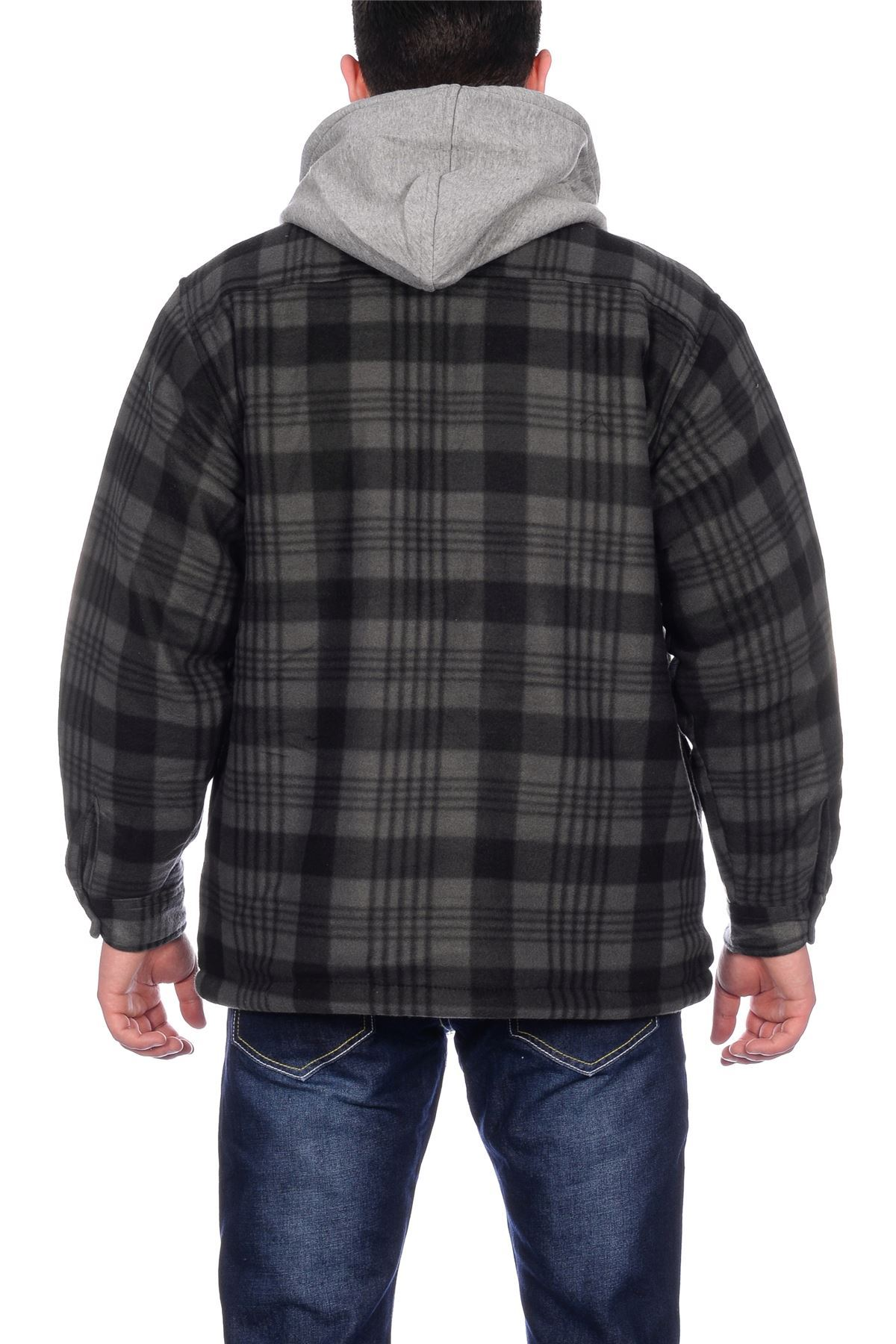 mens sherpa fleece hooded lumberjack check flannel fleece. Black Bedroom Furniture Sets. Home Design Ideas