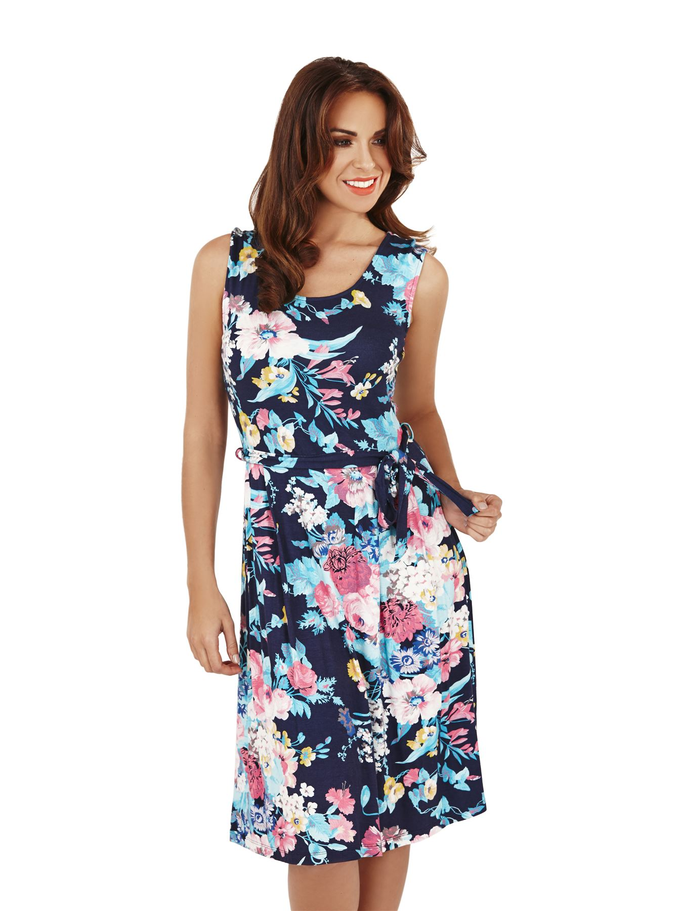 Ladies floral midi knee length party prom evening summer dress ebay
