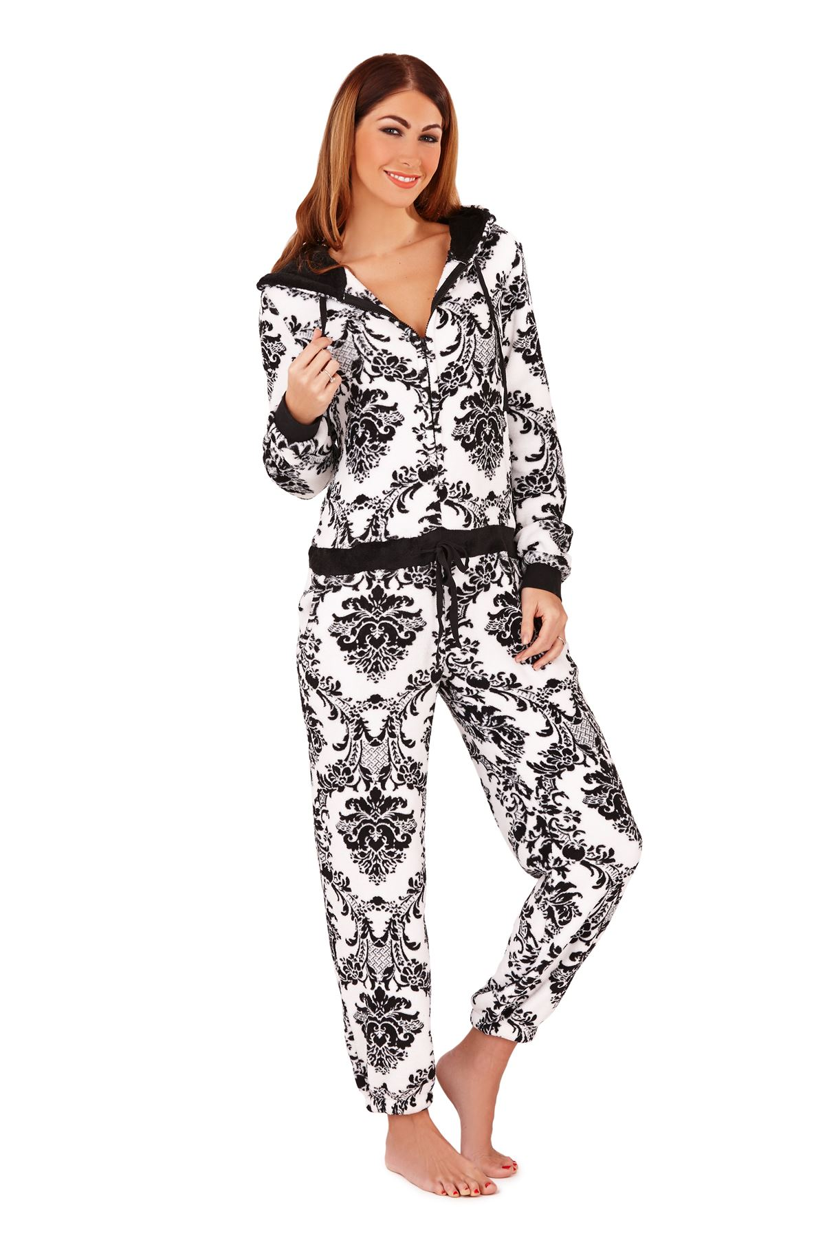 Product Features and sleeve bands that makes the adult onesie jumpsuit really pop.