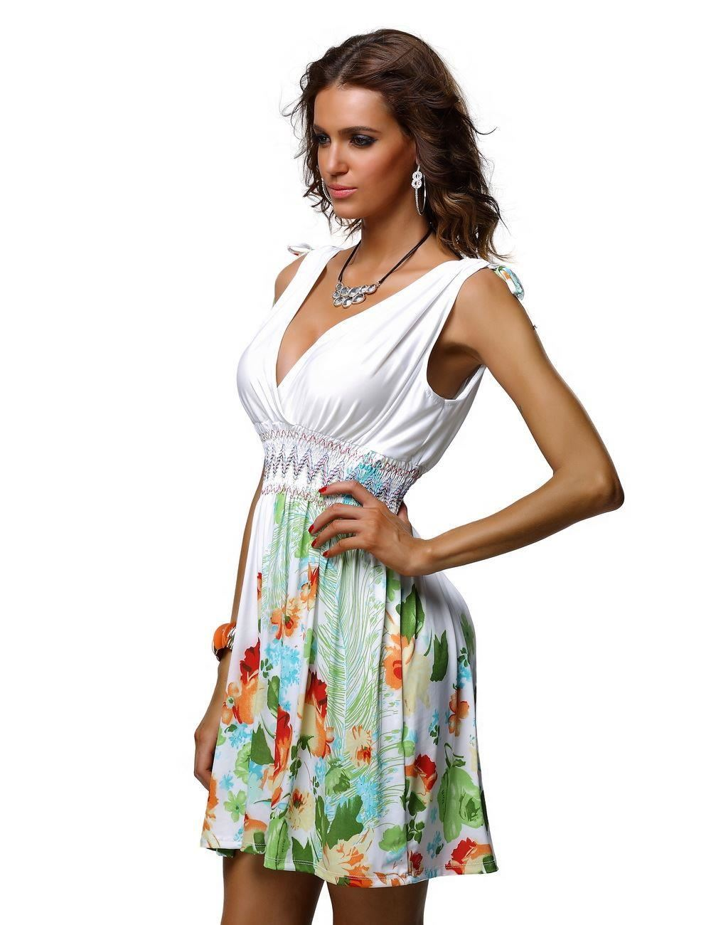 NEW LADIES WOMANS SUMMER TROPICAL BEACH HOLIDAY SHORT DRESS PLUS ...