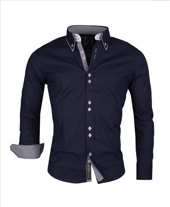 CARISMA Mens Designer Shirt in Plain Navy White Cotton Evening ...