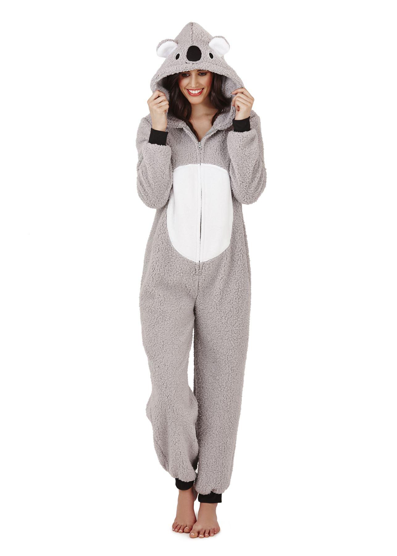 loungeable ladies adult animal onesie jumpsuit koala bear. Black Bedroom Furniture Sets. Home Design Ideas