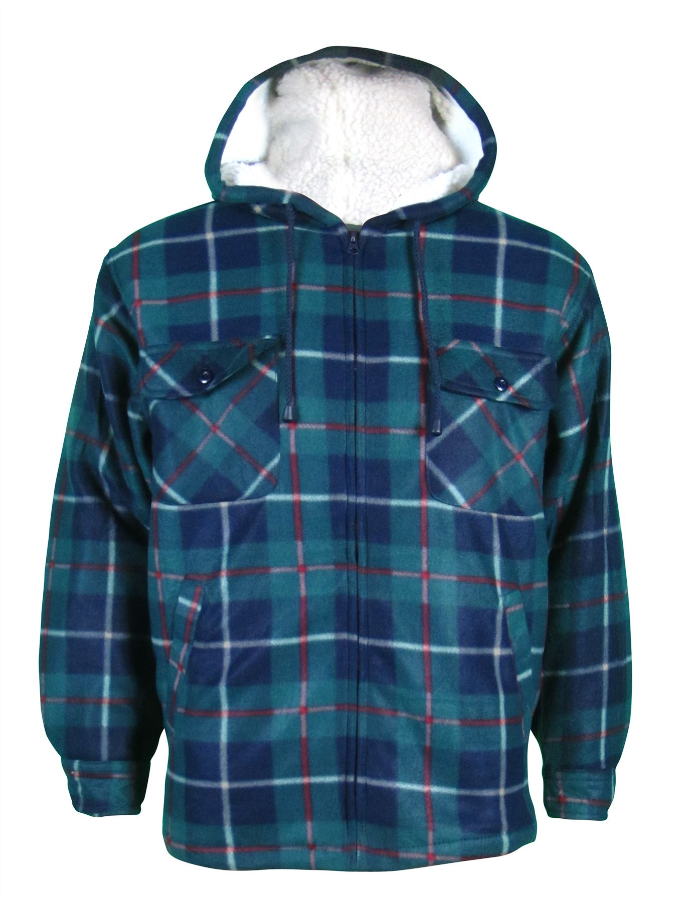 mens sherpa fleece hooded lumberjack check flannel fleece work shirt jacket top ebay. Black Bedroom Furniture Sets. Home Design Ideas