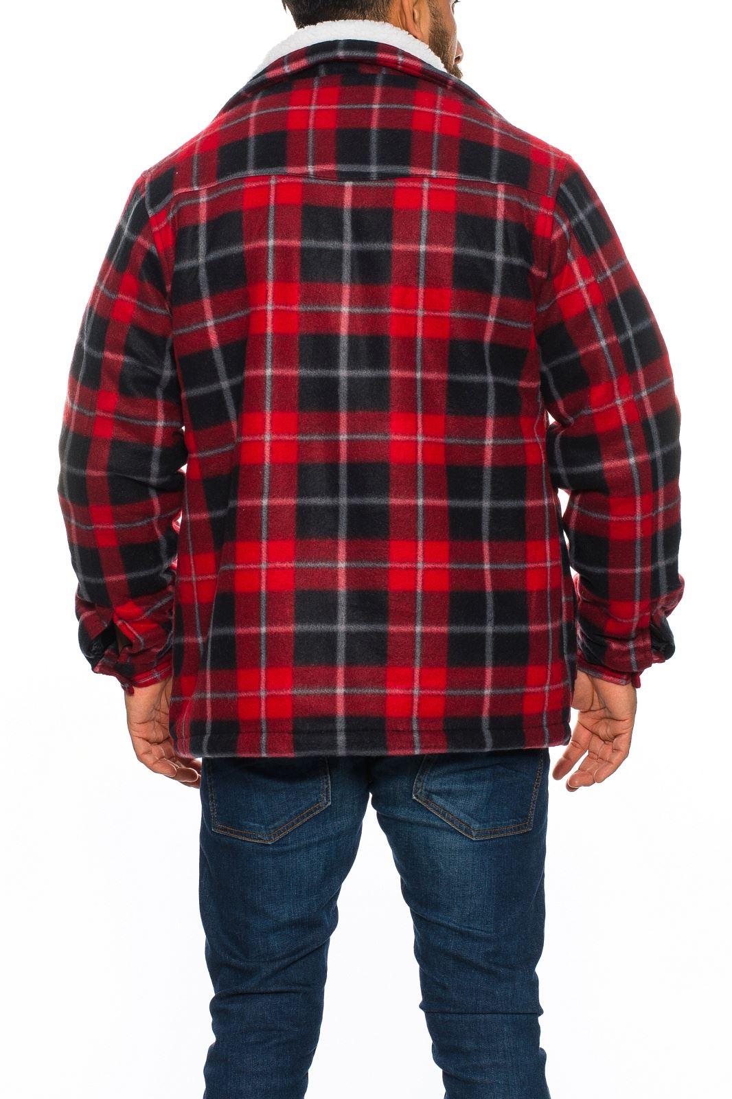mens sherpa fleece hooded lumberjack check flannel fleece work shirt jacket top ebay. Black Bedroom Furniture Sets. Home Design Ideas