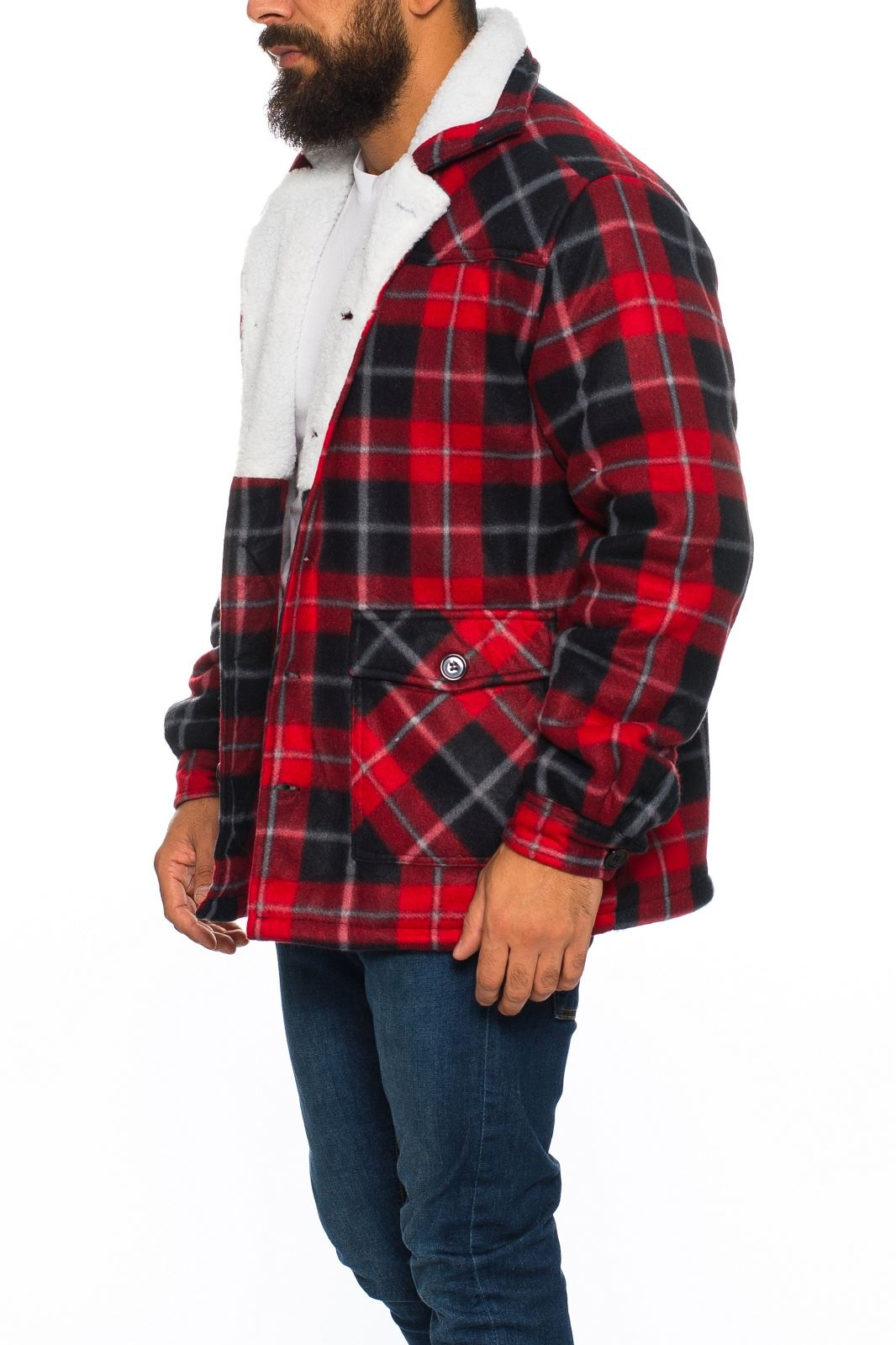 mens sherpa fleece hooded lumberjack check flannel fleece work shirt jacket top. Black Bedroom Furniture Sets. Home Design Ideas