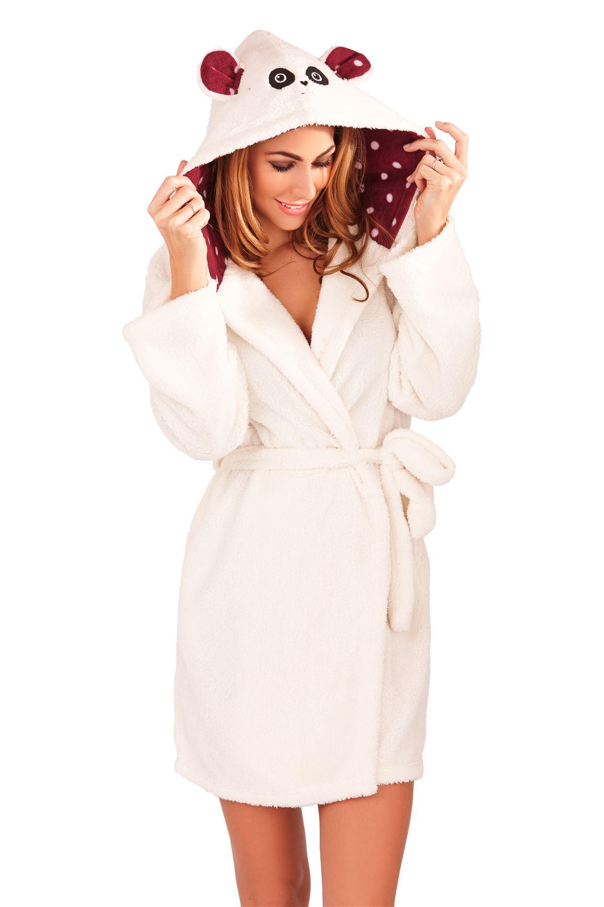 Femme sexy doux polaire pyjama robe de chambre peignoir - Robe de chambre femme polaire avec capuche ...