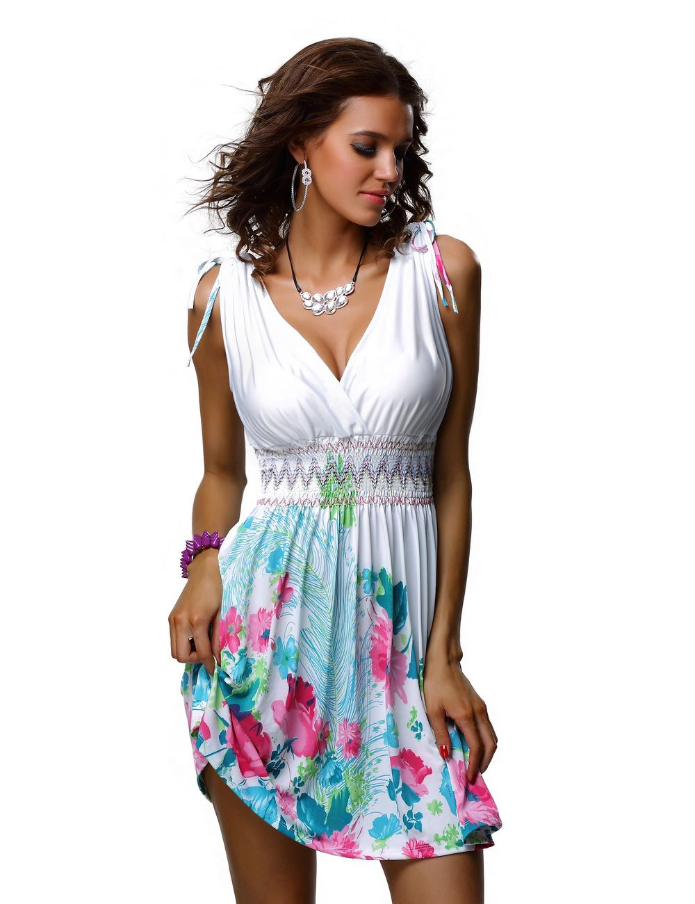 New Ladies Sexy Short Holiday Summer Beach Halter Stripe Floral ...