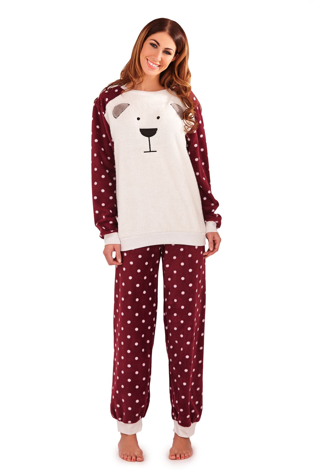 femmes de luxe polaire pyjama set pyjama chaud pour femme manches longues cadeau nightwear ebay. Black Bedroom Furniture Sets. Home Design Ideas