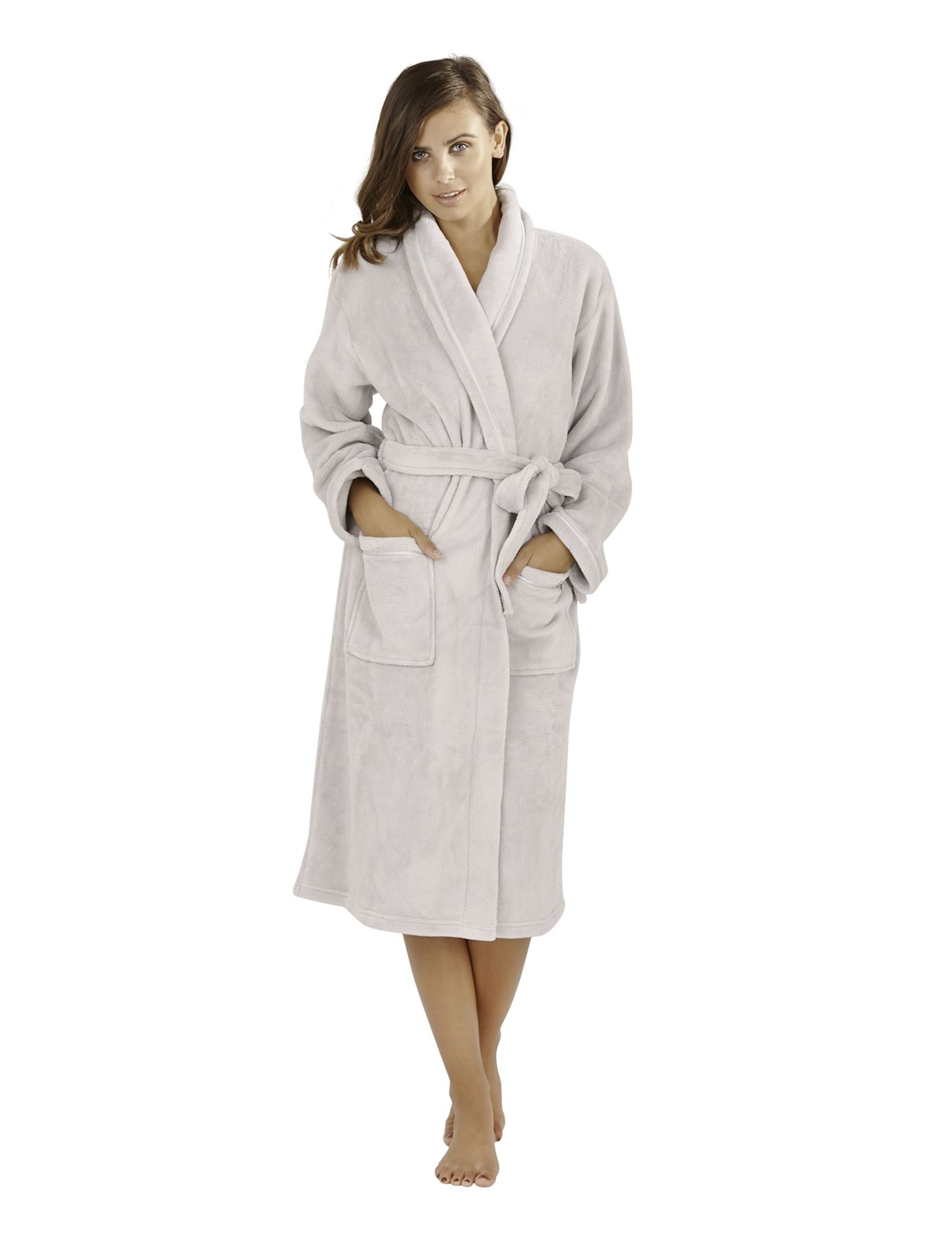 Ladies Womens Luxury Soft Plain Fleece Towelling Bath Robe