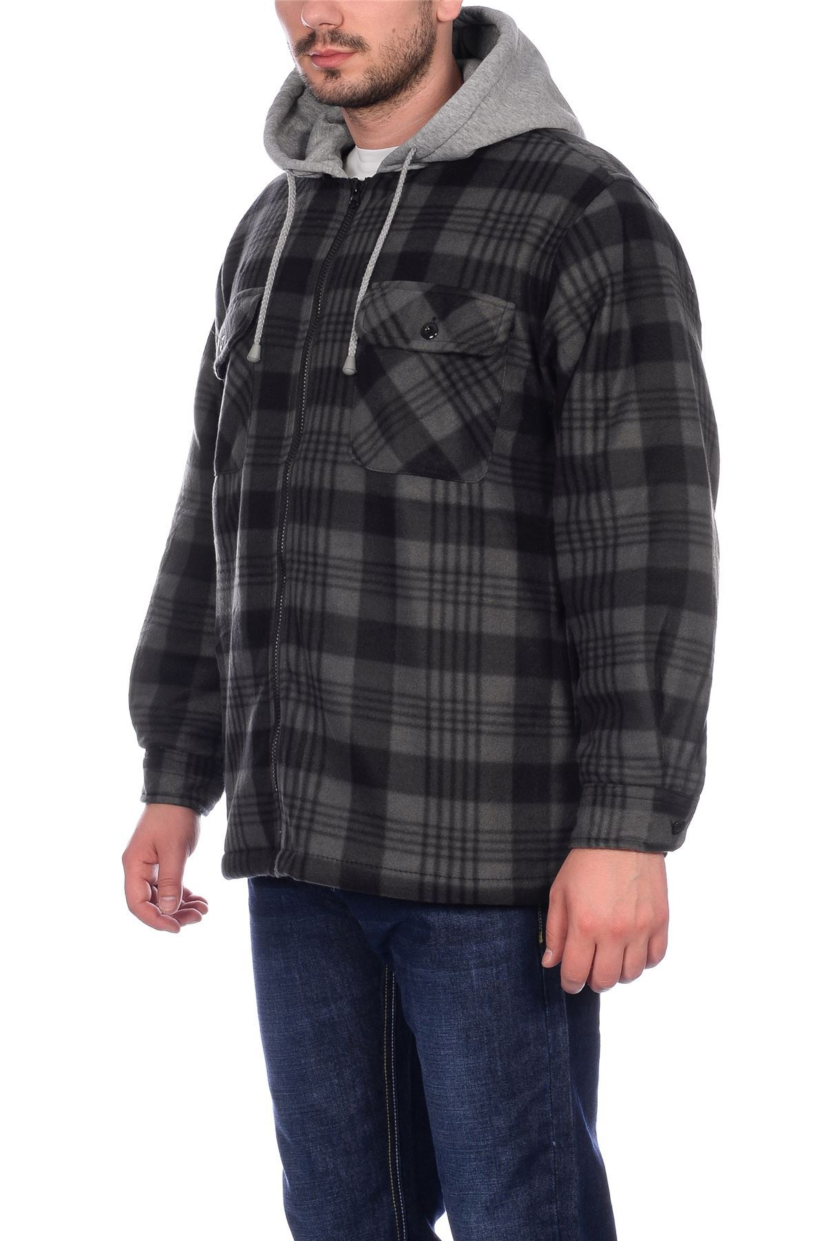 Mens sherpa fleece hooded lumberjack check flannel fleece for Flannel shirt and vest
