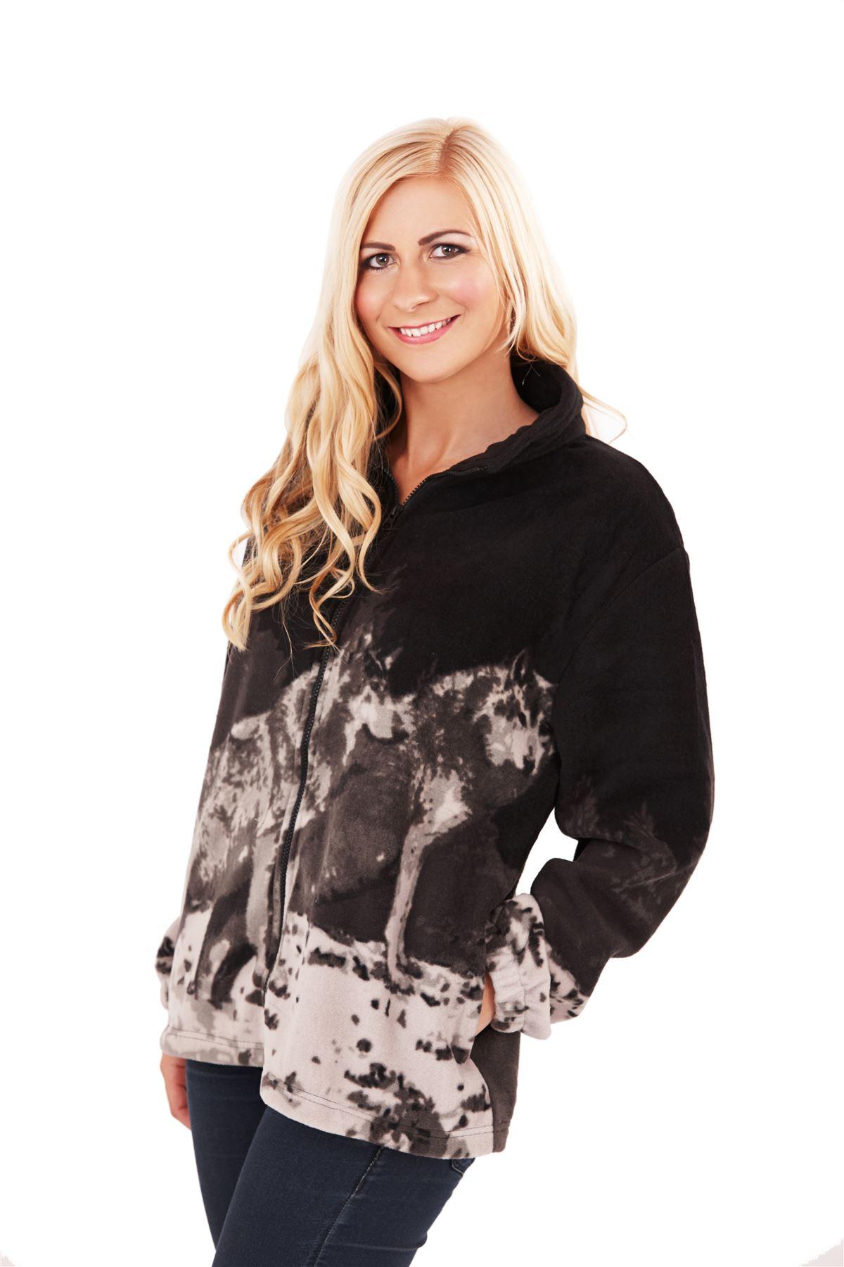 Womens Ladies Animal Design Zip Fleece Jacket Polar Bear