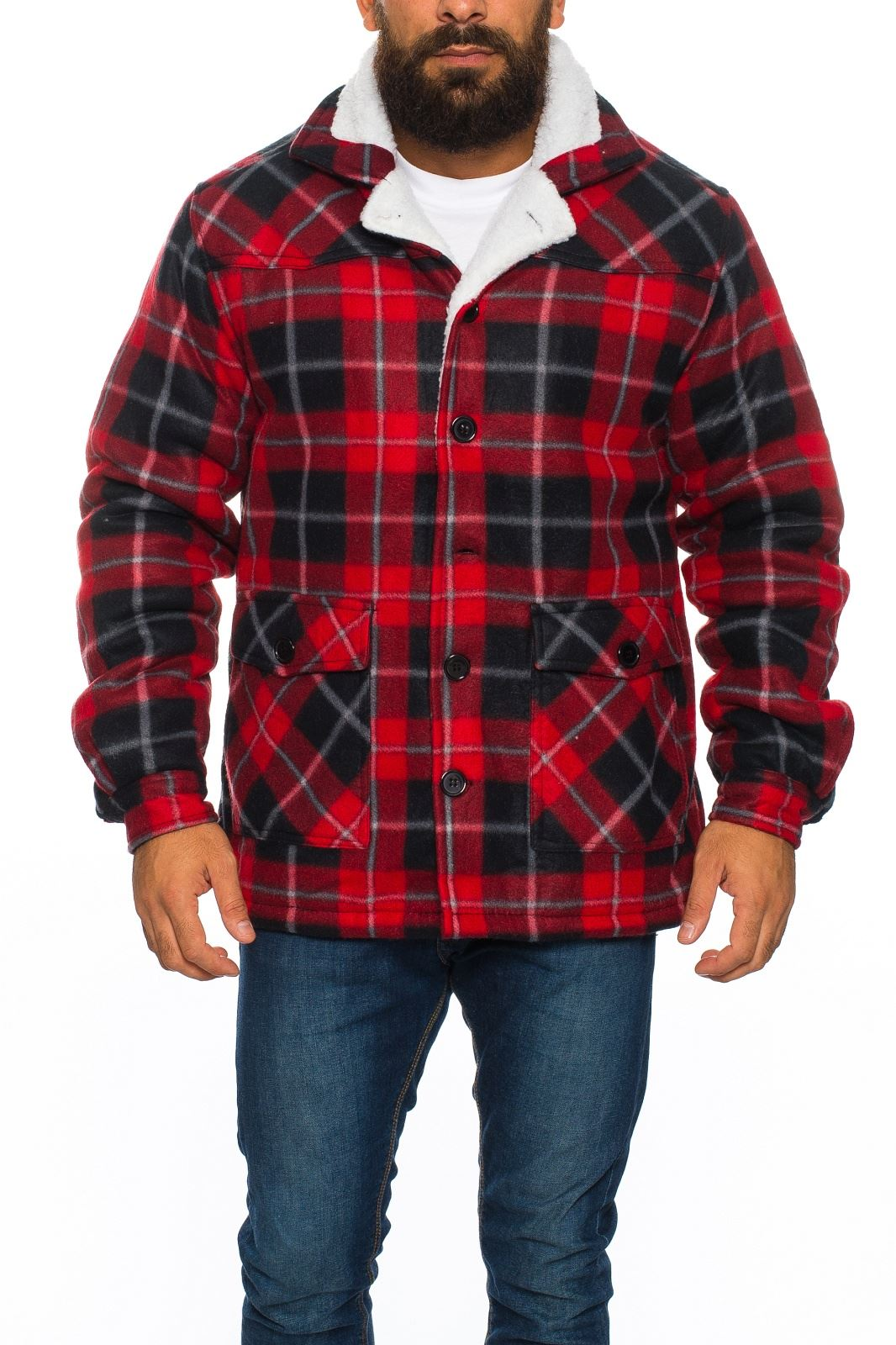 mens sherpa fleece hooded lumberjack check flannel fleece