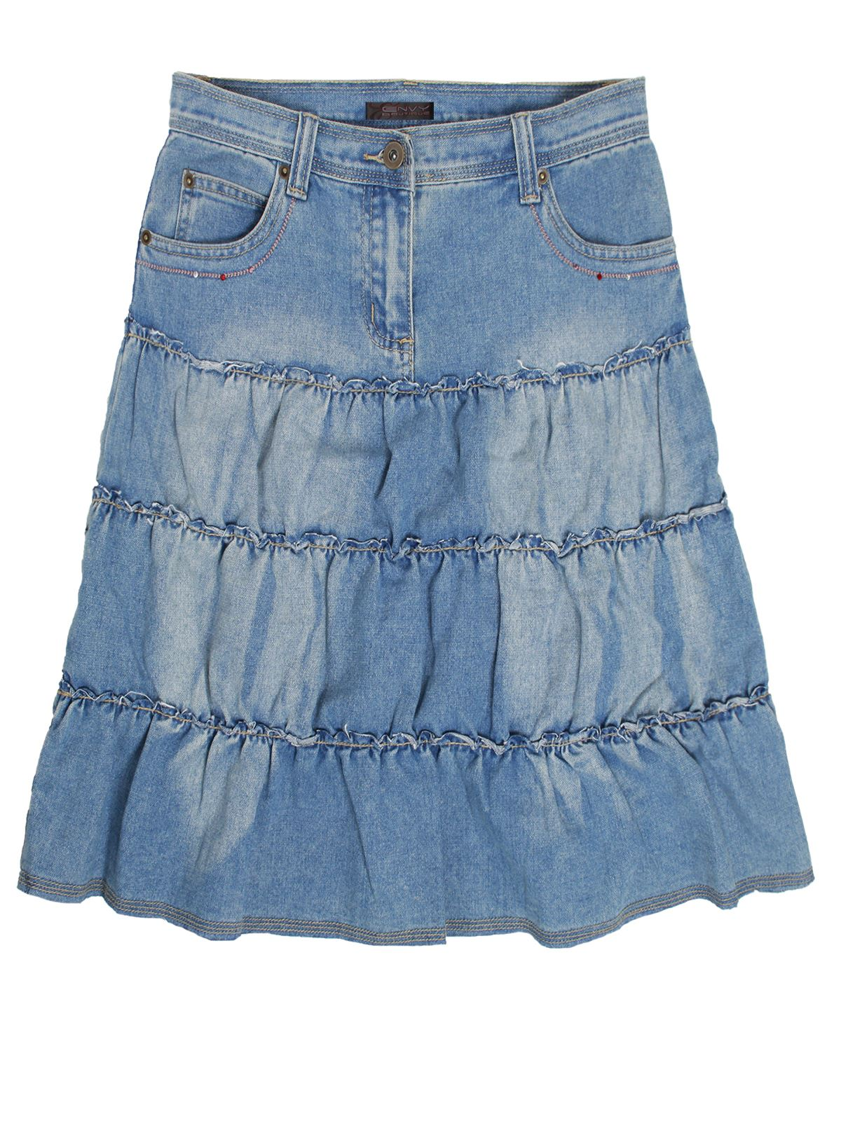 new womens a line denim skirt blue washed