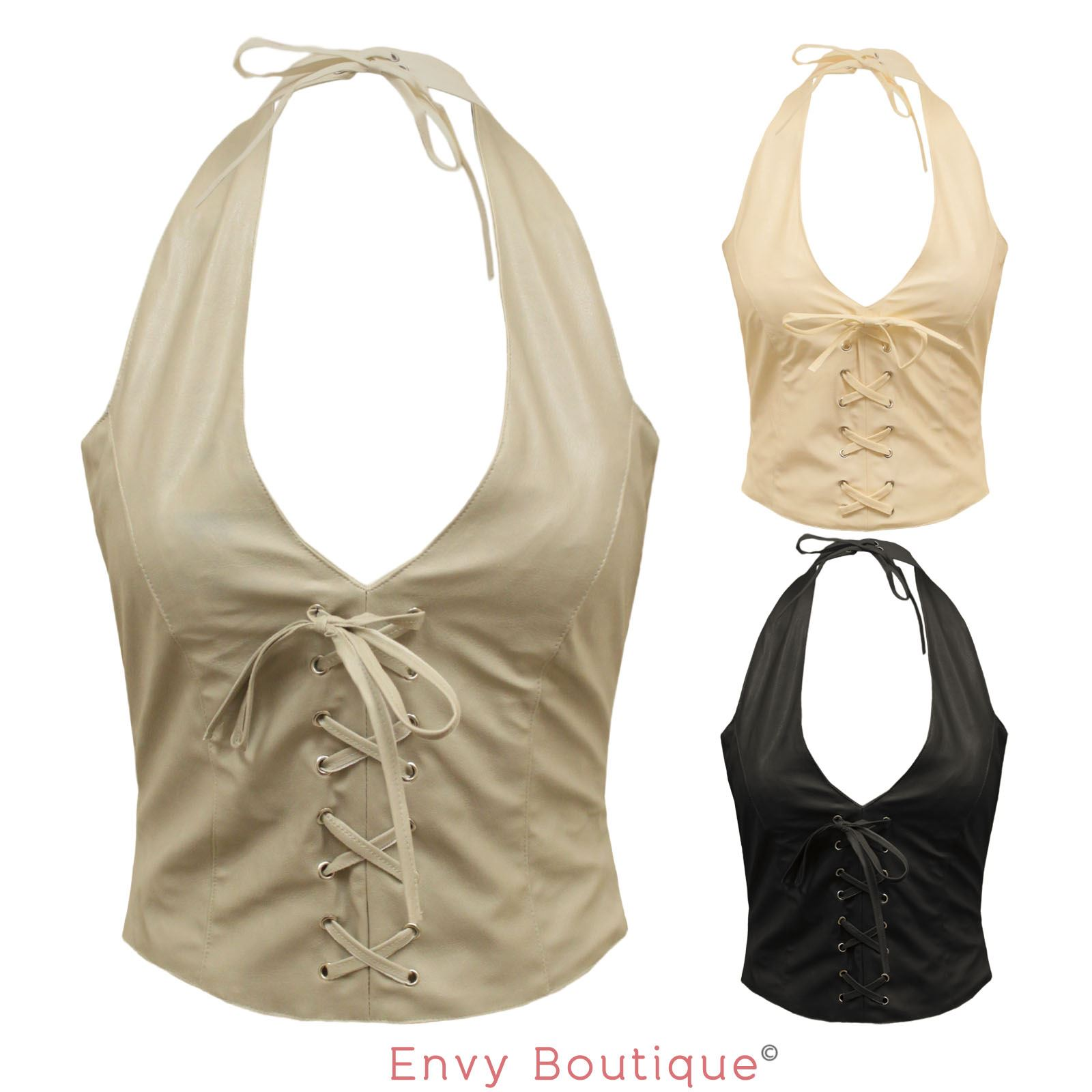 womens ladies sexy party faux leather halter neck waiscoat vest top