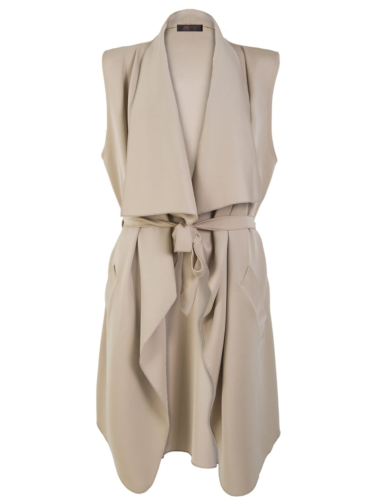LADIES BELTED SLEEVELESS WRAP OVER WATERFALL CARDIGAN COAT CELEB ...