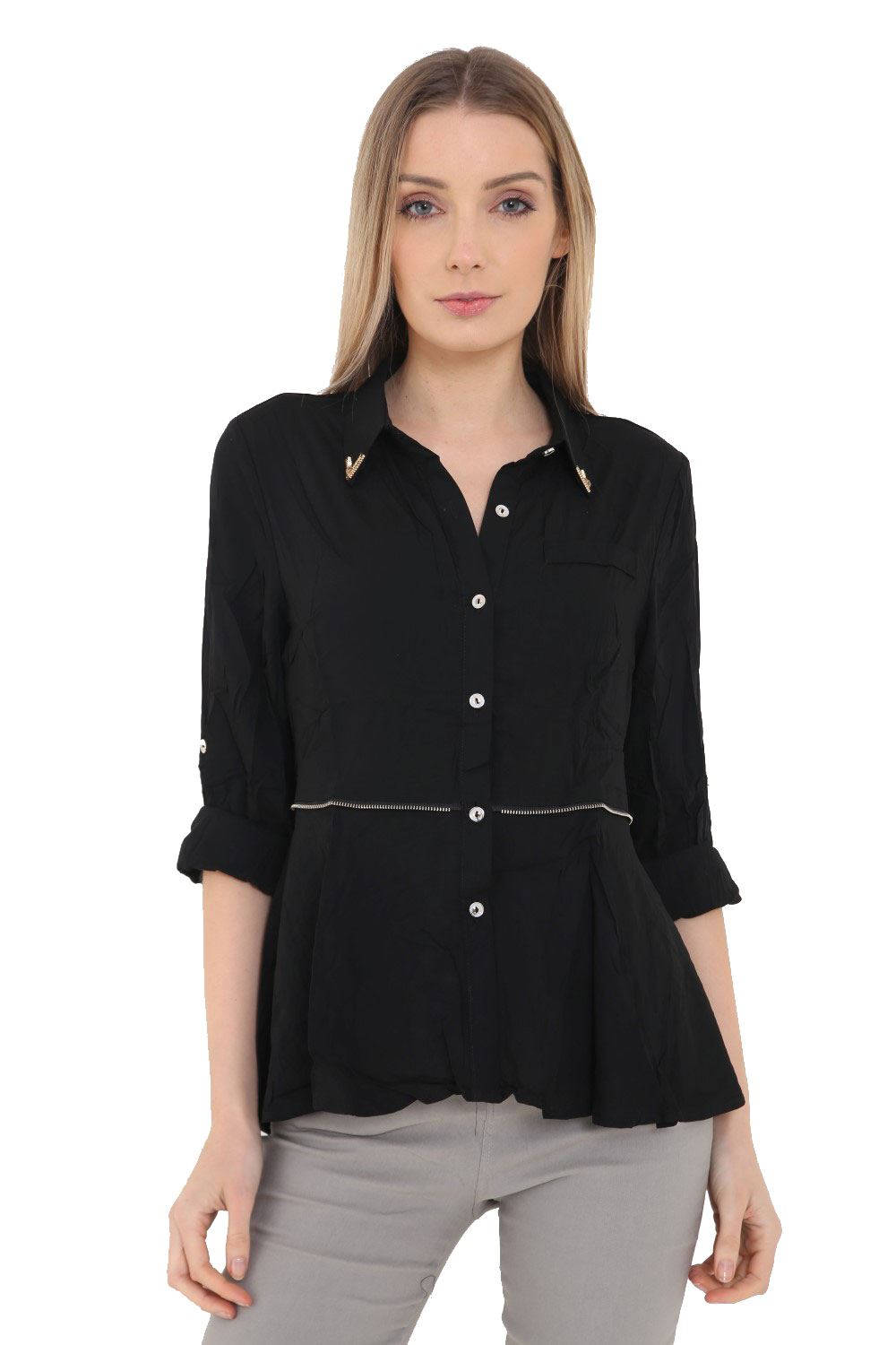 Ladies Womens 100 Cotton Shirt Top Work Office Collared