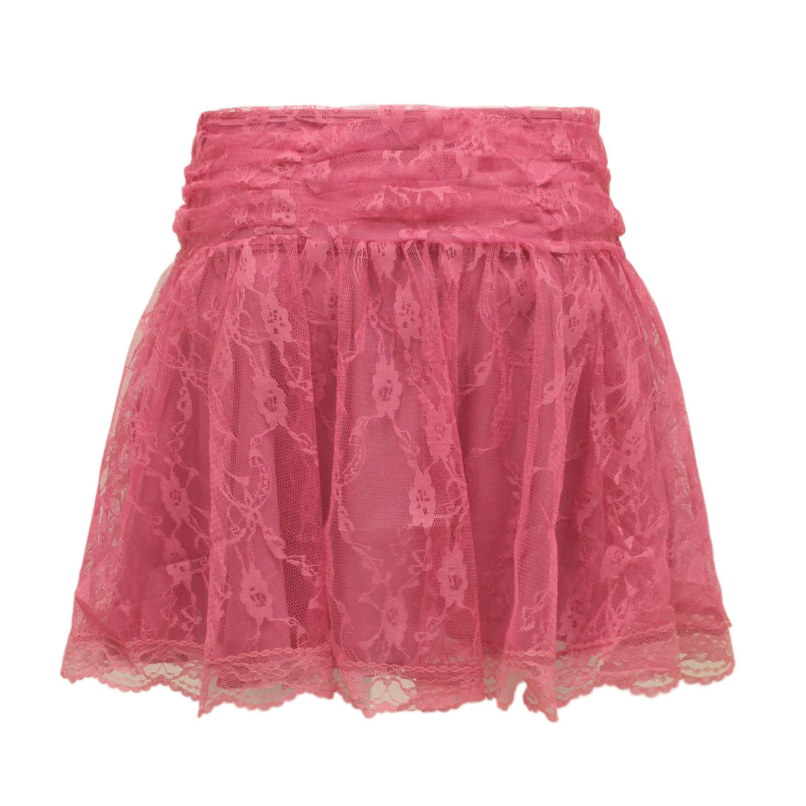 new womens lace mesh crochet tiered mini skirt
