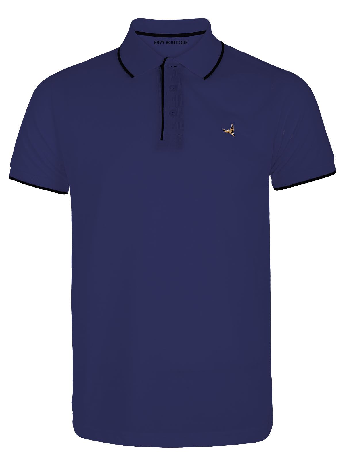 Mens casual short sleeve stretch contrast neck trim summer for Stretch polo shirt mens