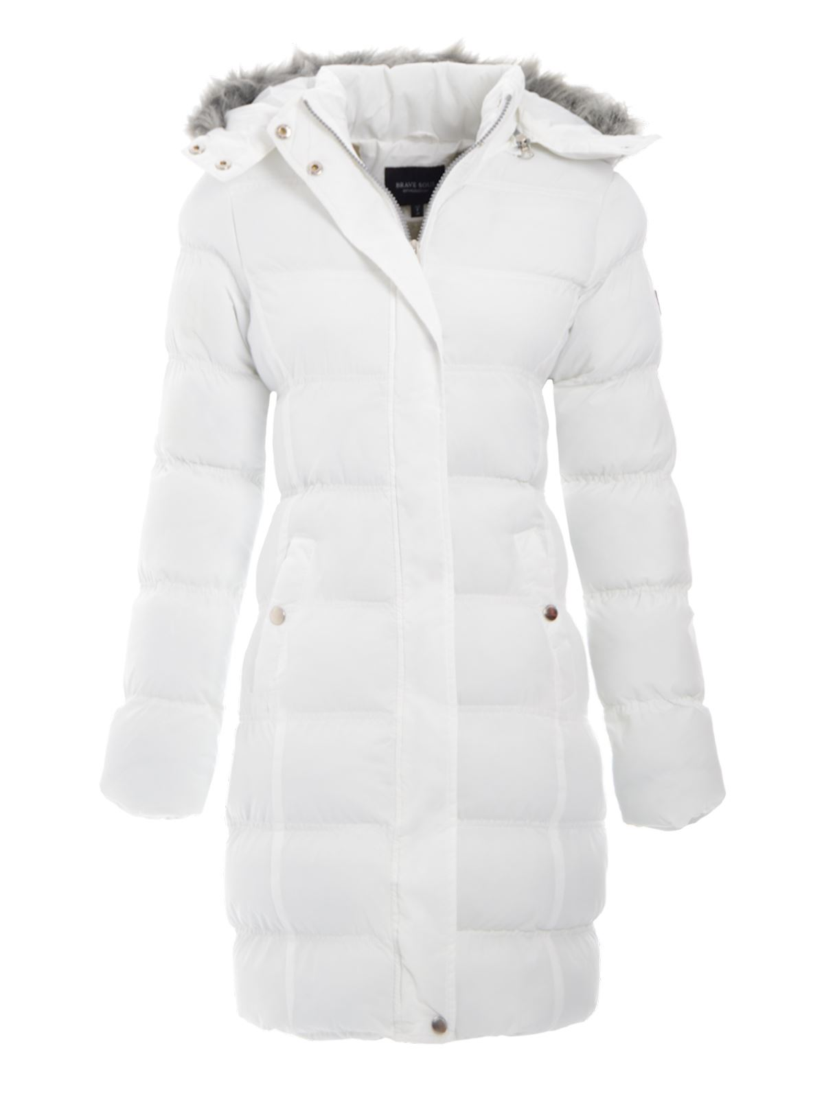Ladies Fur Hooded Padded Quilted Puffer Long Parka Jacket Womens ...