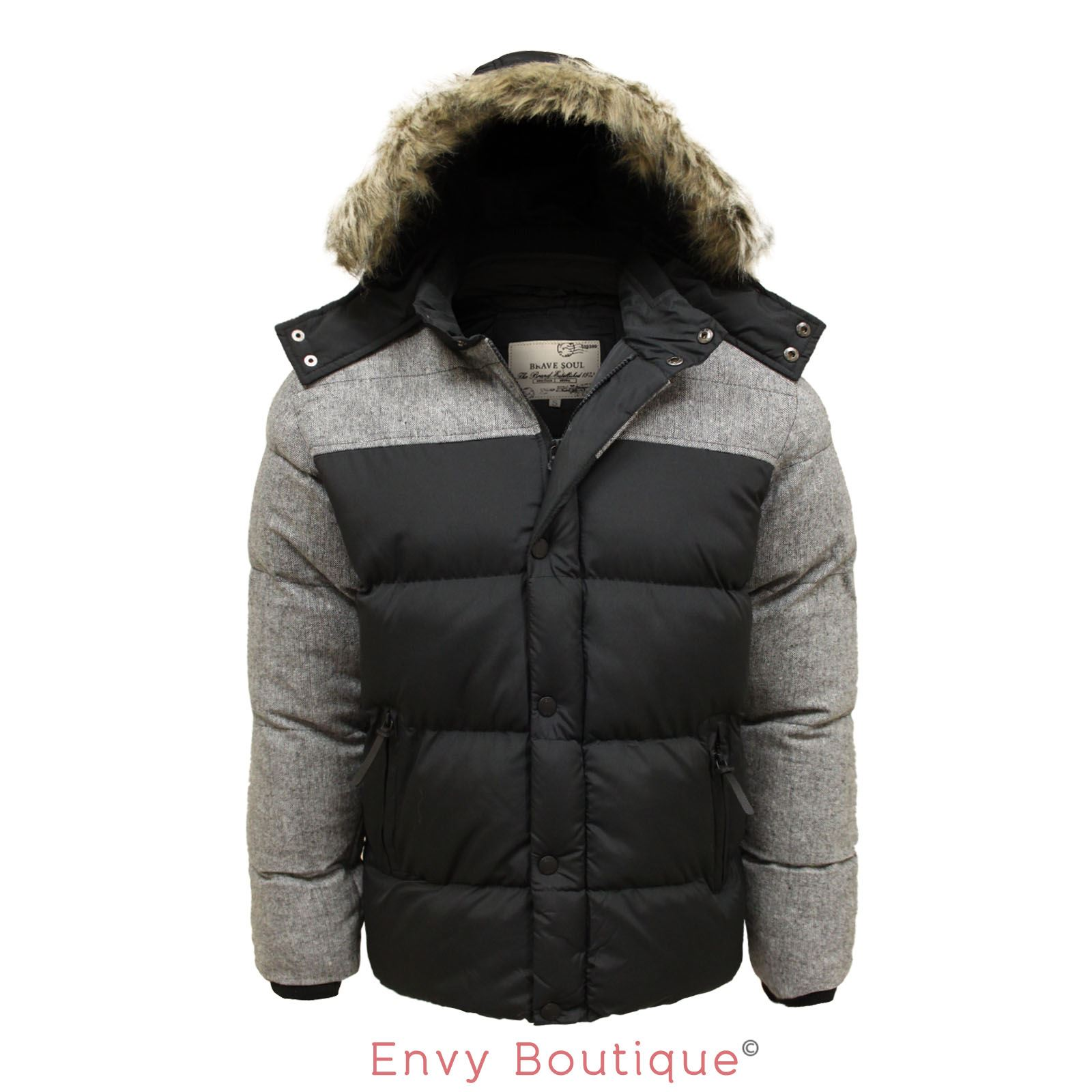 details about brave soul mens fur detachable hooded quilted padded