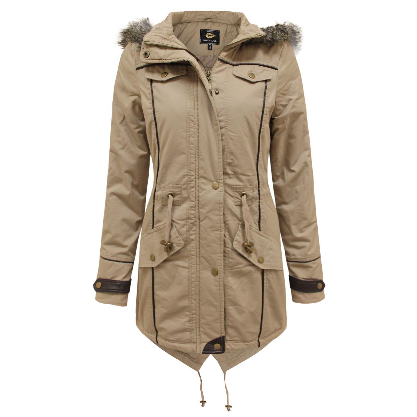 Brave Soul Ladies Fur Oversized Hood Fishtail Jacket Padded ...