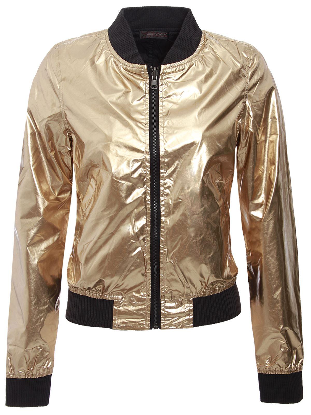 brave soul ladies womens reversible satin metallic bomber jacket